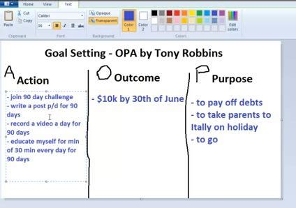 Goal Setting Tony Robbins Opa System The Wireless Income Tony Robbins Rpm Excel Templates