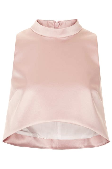 Limited Edition Tie Neck Blouse by Lyst Topshop Limited Edition High Neck Crop Top In