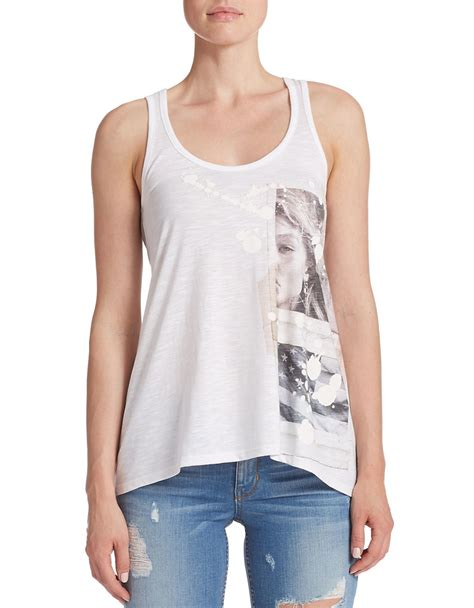 draped white top guess draped tank top in white lyst