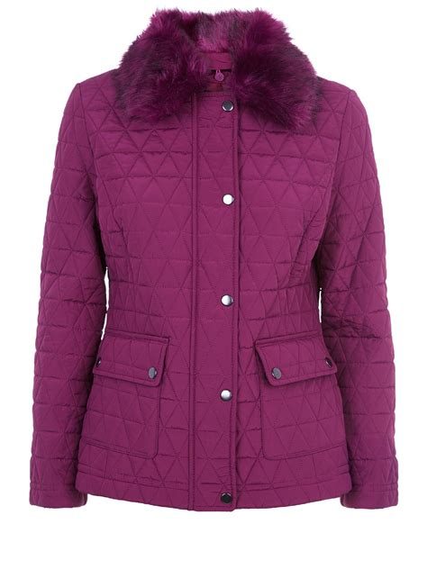 Quilted Fur Coat by Precis Fur Collar Quilted Coat In Purple Lyst