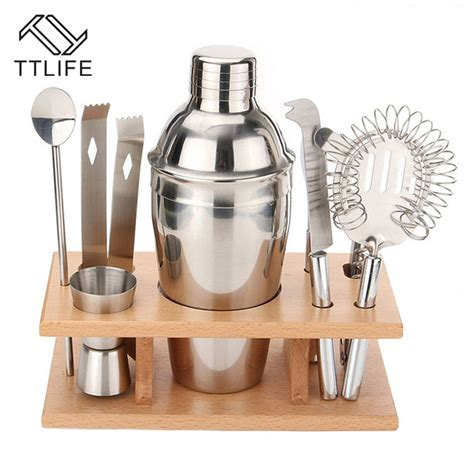 Shaker Cocktail Shaker Stainless 350 Ml ttlife 350ml stainless steel cocktail shaker mixer drink bartender tools bar set kit
