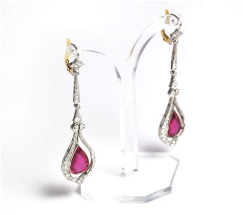 Ruby 8 7ct 10 7ct ruby and earrings platinum antikschmuck