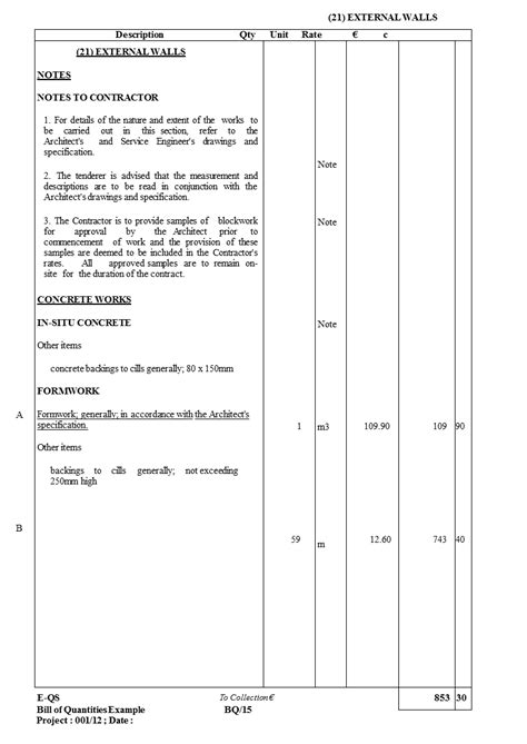 Bill Of Quantities Excel Template