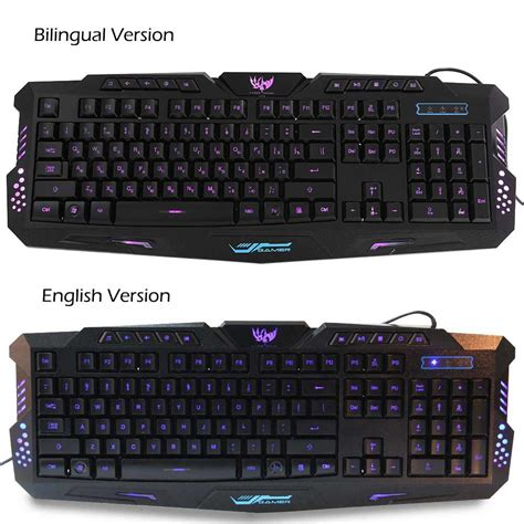 M 200 Usb Wired Gaming Keyboard by M 200 Bilingual Russian Three Backlight Colors