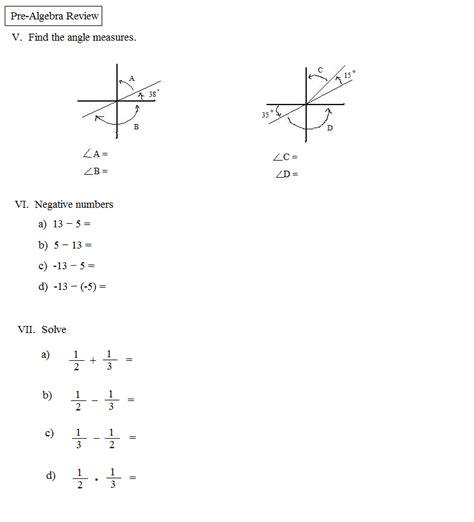 Mba Math Pre Quiz by Pre Algebra B Review Worksheet 1 Algebra I Review