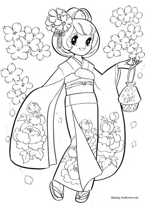 japanese princess coloring pages 1137 best coloring book images on drawings