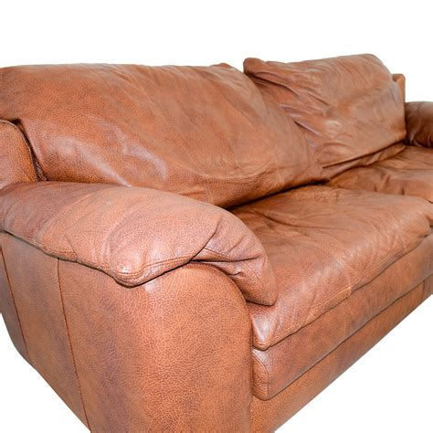 leather couch cushion 65 off rust two cushion leather couch with pillowed
