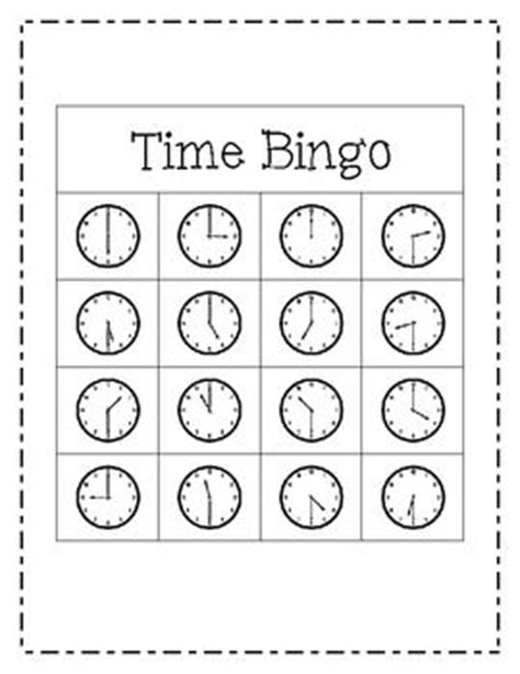 printable clock bingo telling time bingo game to the hour and half hour to