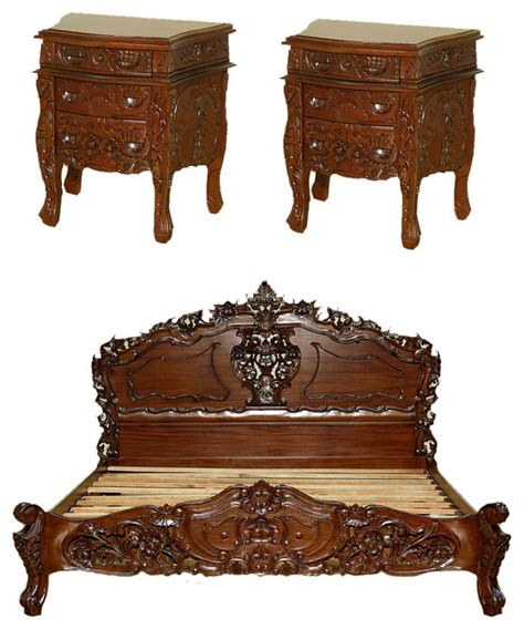5 pc queen bed hand carved solid mahogany wood sleigh solid mahogany french rococo carved king bed set with 2