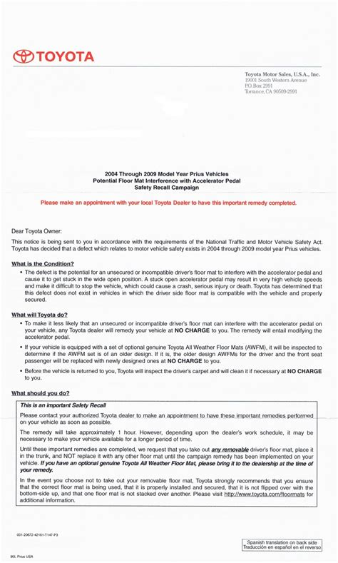 Car Types With 3 Letters by Image Toyota Prius Recall Letter Size 1024 X 1705 Type