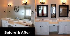 bathroom mirror remodel remodeled bathroom mirror before after