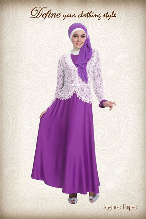 Gaun Pesta Warna Metalic Purple dress pesta muslimah modern yang fleksibel pusat busana