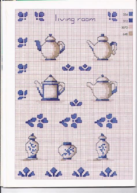 disegni a punto croce per cucina tre tipi di teiere schemi punto croce cucina magiedifilo
