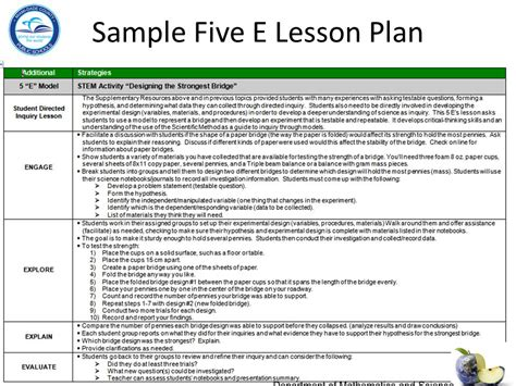 5 e lesson plan template science department of mathematics and science ppt