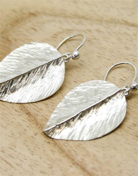 Silver Handcrafted Jewellery - handmade silver leaf earrings starboard jewellery