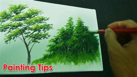 acrylic tree acrylic painting lesson how to paint tree leaves by