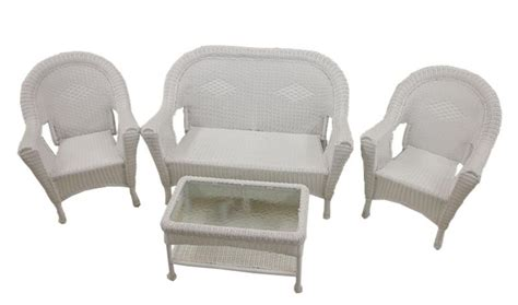 white patio furniture set white wicker patio furniture