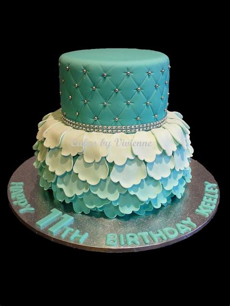 birthday cake for turquoise ombre ruffle and quilted birthday cake cakes