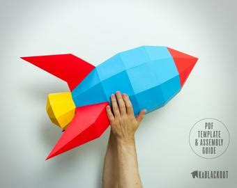 Low Poly Etsy 3d Rocket Template Printable