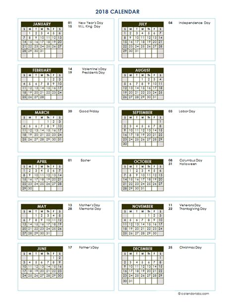 academic calendar year template 2018 year calendar vertical template free printable