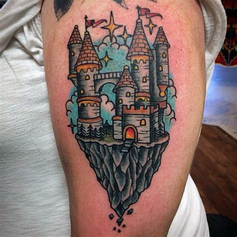 cliff tattoo 80 castle tattoos for masculine fortress designs