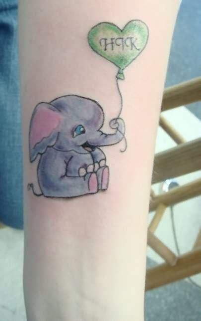 elephant heart tattoo tiny elephant and