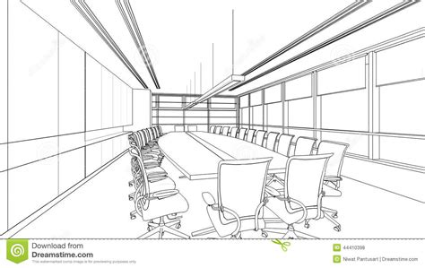 7 X 10 Bathroom Floor Plans Outline Sketch Of A Interior Meeting Room Stock