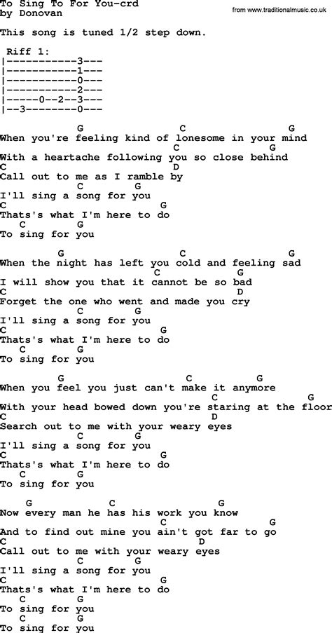 song to sing donovan leitch song to sing to for you lyrics and chords