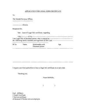 Succession Certificate Letter Administration heir certificate sle fill printable fillable blank pdffiller