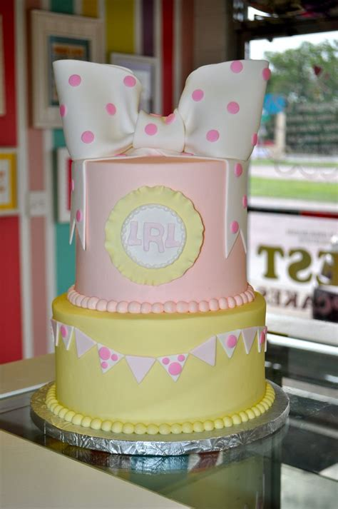 Pink And Yellow Baby Shower Cake by Pin By S Sweet Treats On Custom Celebration Cakes Cupcakes P
