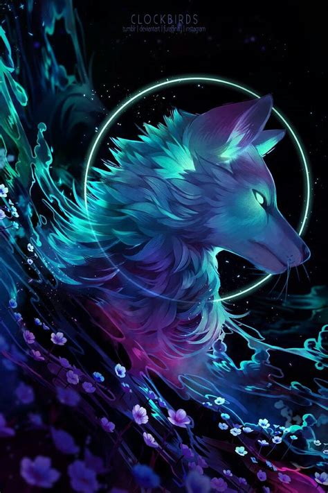clockbirds anime wolf animal drawings fantasy art
