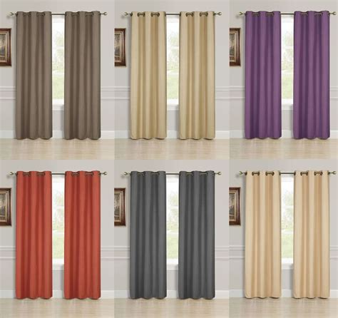 Width Of Curtains For Windows 2 Panel Solid Lined Thermal Blackout Grommet Window Curtain Drape 2 Sizes K55 Ebay
