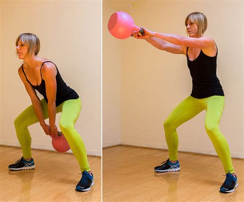 kettlebell squat swing kettlebell exercises for weight loss popsugar fitness