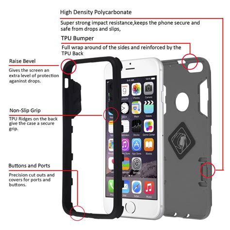 Armor Shield Bumper Back Soft Cover Casing Iphone 5c luxury armor bumper soft rubber stand cover for apple iphone 6 plus ebay