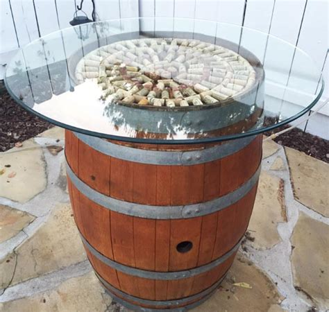 wine barrel table glass top diy wine barrel cocktail table tutorial foodie