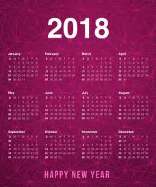 2018 Calendar New Year Happy New Year 2018 Calendar With Holidays Printable