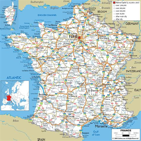 printable maps france large detailed road map of france with all cities and
