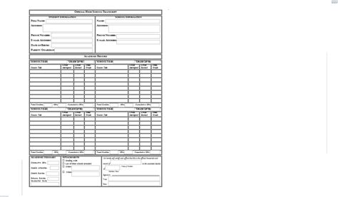 high school transcript template printable high school transcript templates pictures to pin