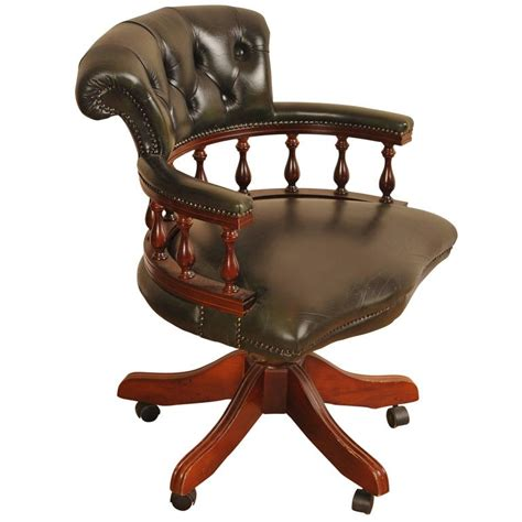 leather captains tub chair swivel office desk seat  stdibs