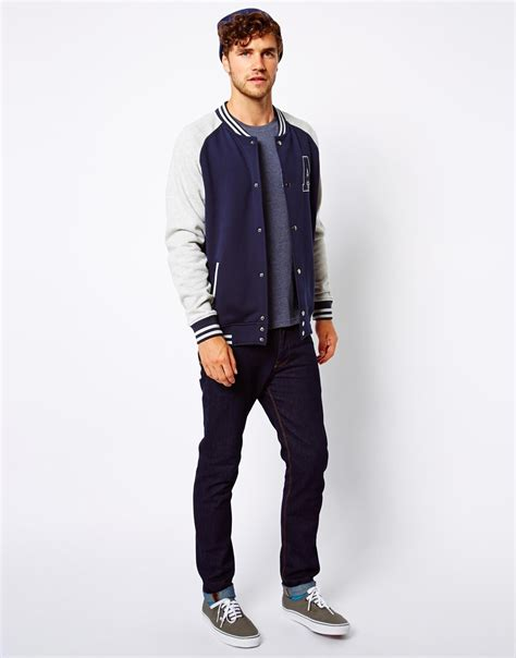 rvca college bomber in blue for lyst