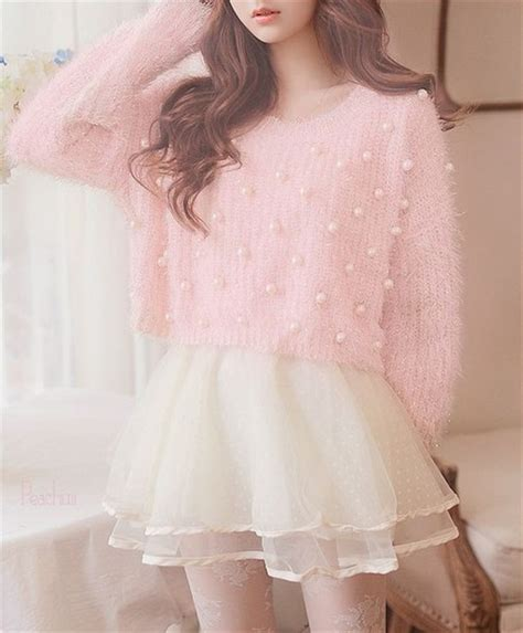 Dress Larry Koreanstyle sweater pastel pink pink pastel pearl pearl kawaii