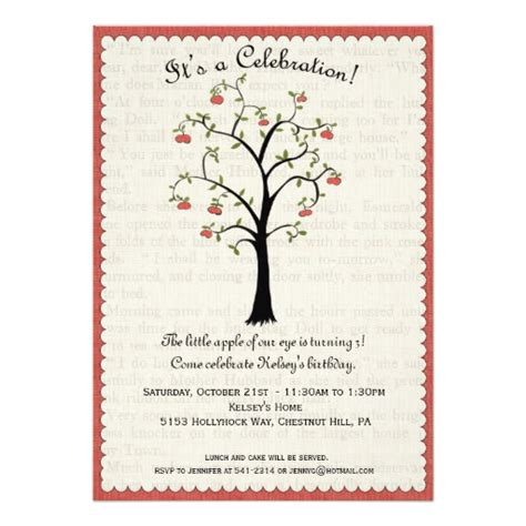 design invitation on mac apple apple tree birthday invitation 5 quot x 7 quot invitation