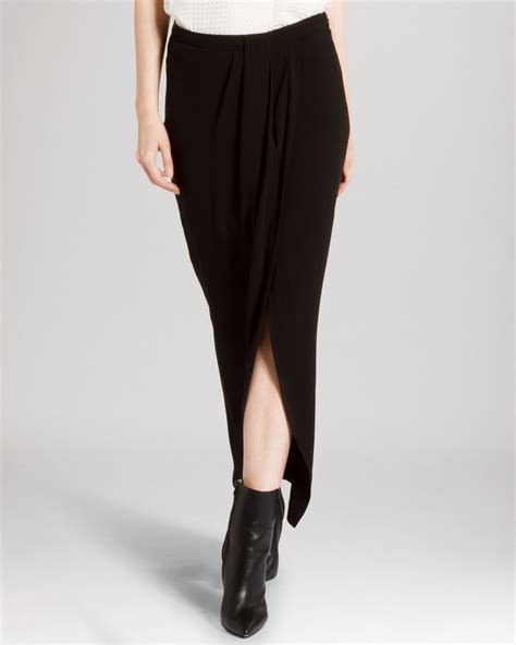 heritage skirt faux wrap maxi front slit in