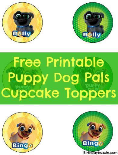 puppy pals birthday supplies free printable puppy pals cupcake toppers birthday buzzin