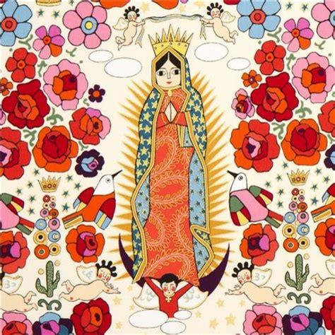 alexander henry upholstery fabric beige mexican virgin mary statue fabric by alexander henry