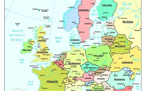 political map of europe with capitals maps europe map with capitals