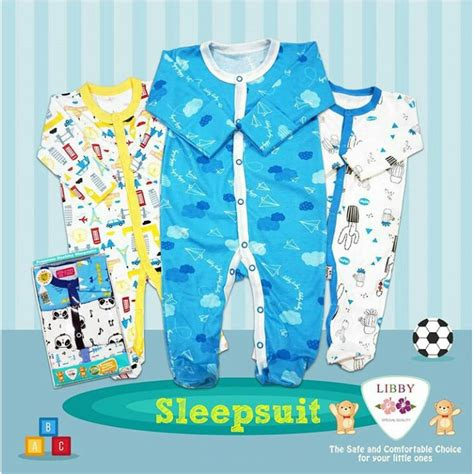 3 6m Libby Sleepsuit libby 3 pcs sleepsuit bayi baby premium boy