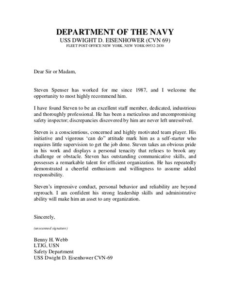 Endorsement Letter Navy Retirement u s navy letter of recommendation 2