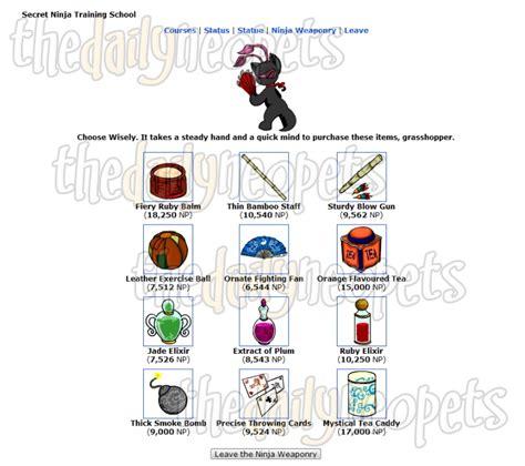 techo master statue secret ninja training school the daily neopets