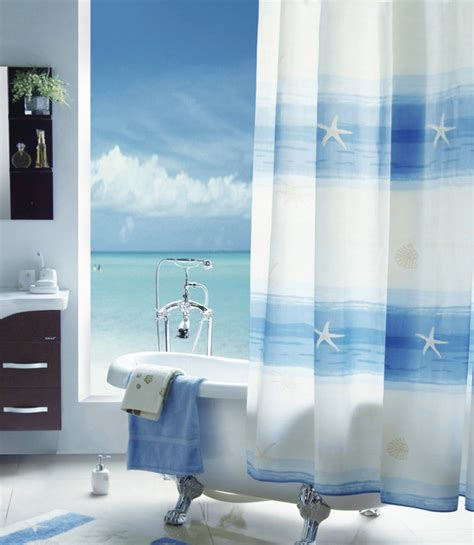 beach bathroom shower curtains beach scenery shower curtain mediterranean shower